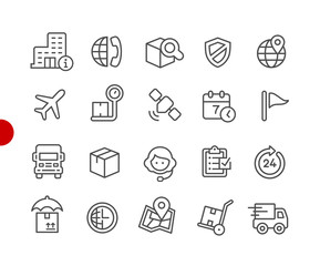 Shipping & Tracking Icons // Red Point Series - Vector line icons for  your digital or print projects.