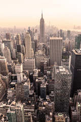 Manhattan downtown skyline panorama, New York City, USA