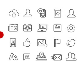 Social Web Icons // Red Point Series - Vector line icons for  your digital or print projects.