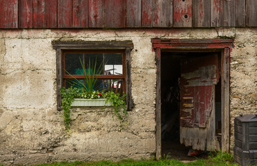 Door and window on an old shed