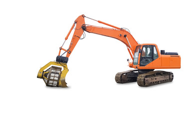 Orange Excavator on Tracks Isolated on White Background