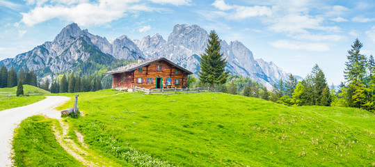 Idyllic mountain scenery with wooden cabin in the Alps in summer