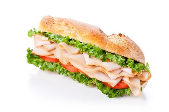 Homemade Ham Tomato And Lettuce Sandwich