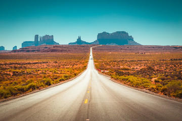 Classic highway view in Monument Valley, USA