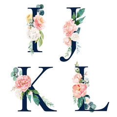 Floral Alphabet Set - set of navy letters I, J, K, L with flowers bouquet composition. Unique collection for wedding invites decoration and many other concept ideas.