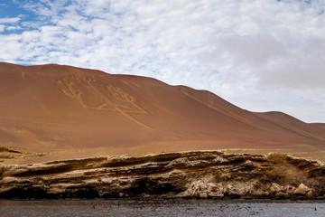 Chandelier de Paracas Rocher falaise îles Ballestas Pérou Ica Lima Paysage excursion visite tour