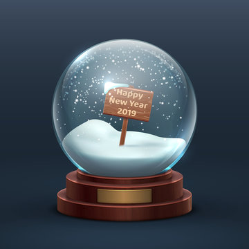 Snow globe. Christmas holiday glass snowglobe with wooden sign and happy new year text. Isolated vector illustration. Snowglobe and sphere ball with snowflake