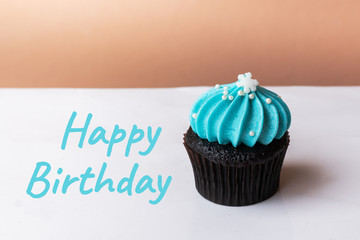 Happy Birthday cute cupcake with small white snow blue cream on white background