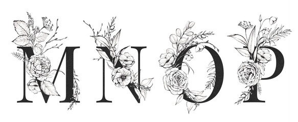 Graphic Floral Alphabet Set - letters M, N, O, P with black & white flowers bouquet composition. Unique collection for wedding invites decoration, logo and many other concept ideas.