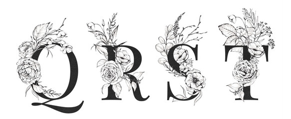 Graphic Floral Alphabet Set - letters Q, R, S, T with black & white flowers bouquet composition. Unique collection for wedding invites decoration, logo and many other concept ideas.