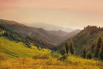 Tien Shan mountains in the setting sun, Kazakhstan