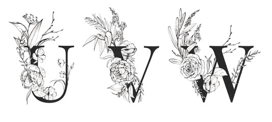 Graphic Floral Alphabet Set - letters U, V, W with black & white flowers bouquet composition. Unique collection for wedding invites decoration, logo and many other concept ideas.