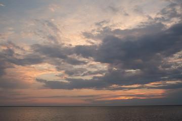 beautiful sunset over lake.