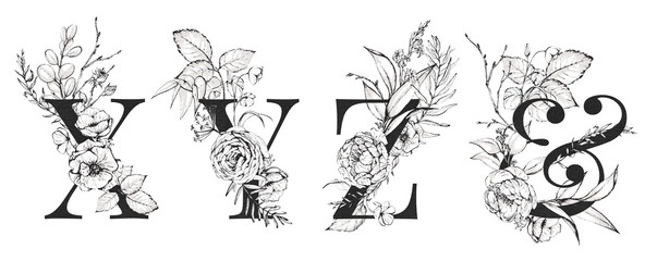 Graphic Floral Alphabet Set - letters X, Y, Z, & Ampersand with black & white flowers bouquet composition. Unique collection for wedding invites decoration, logo and many other concept ideas.