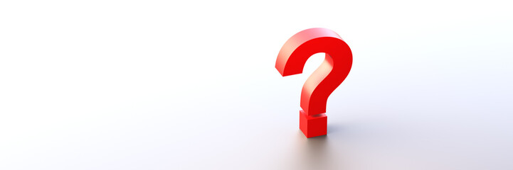 Red question mark background with empty space on left side. 3D Rendering.