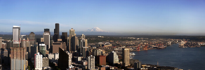 Seattle Skyline Panoramic View in Summer
