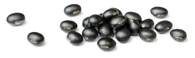 raw black bean isolated on white background