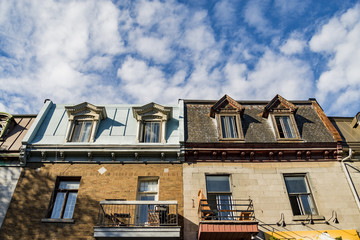 Colorful victorian houses in Montreal