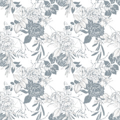 Graphic floral seamless pattern - flower bouquets on white background. For wedding stationary, greetings, wallpapers, fashion, logo, wrapping paper, fashion, textile, etc.
