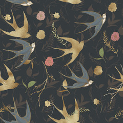 Graphic floral seamless pattern - gold textured swallow birds and flower elements on dark background. For wedding stationary, greetings, wallpapers, fashion, logo, wrapping paper, fashion, textile. - 221850641
