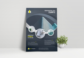 Business Flyer Layout with Circular Elements
