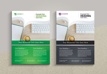 Business Flyer Layout with Wavy Image Area