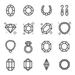 Simple Set of Jewelry Related Vector Line Icons. Contains such Icons as Earrings, Diamond, Engagement Ring and more.
