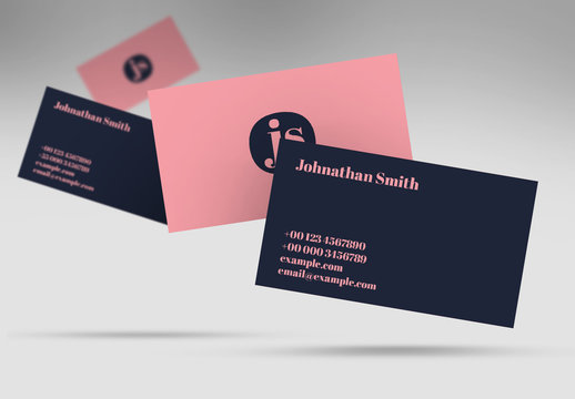 Pink and Navy Blue Business Card Layout