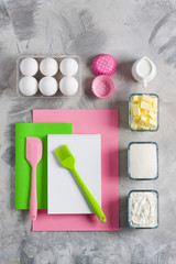 Cooking baking for kids flat lay background