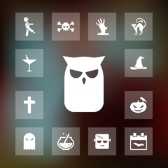Owl icon halloween set simple vector sign