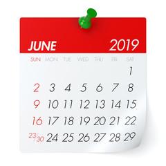 June 2019 - Calendar.