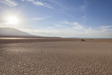 Late afternoon view of dry lake close to Death Valley National Park in California's Mojave desert.
