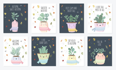 Vector poster collection with cute house plant in flower pot with scarf