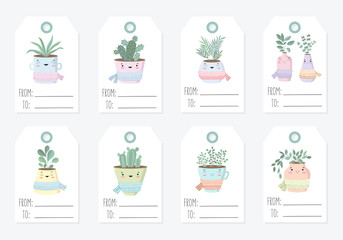 Vector tags collection with cute house plant in flower pot with scarf