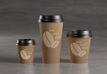 3 Coffee Cups Mockup