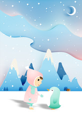 cute child with penguin in paper art style and winter background