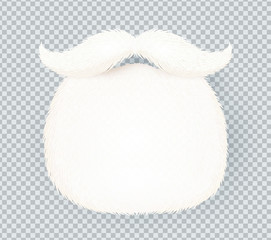 White furry vector Santa Claus beard isolated on transparency grid background