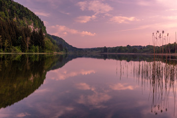 French landscape - Jura. View over the lake of Etival in the Jura mountains (France) at sunset.