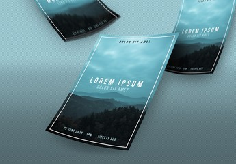 Event Poster Layout with Mountain Range Photo