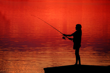 Young Child Kid Person Fishing in Lake or River Sunset