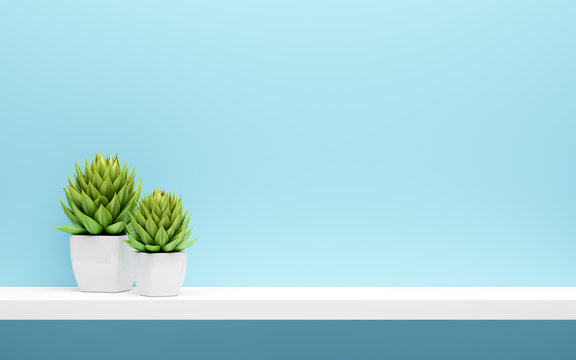 white shelf on blue wall with green potted plants mock up
