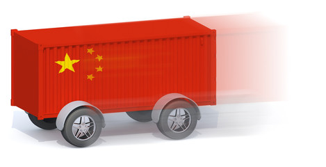 China Flag Shipping Container with wheels
