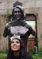Miss America Nia Imani Franklin poses for photos at the beach after she won Miss America, in Atlantic City