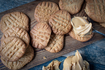 Homemade Peanut butter cookies with spoonful of creamy peanut butter