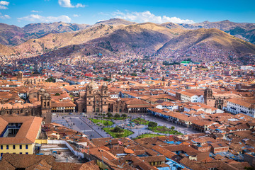 Zelfklevend Fotobehang Zuid-Amerika land Panoramic view of Cusco historic center, Peru