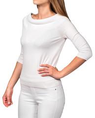 Model in white sweater