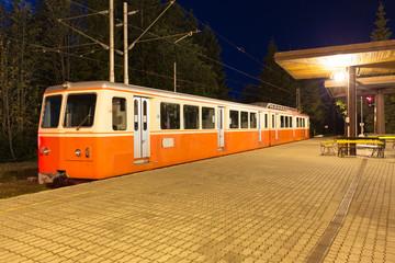 narrow gauge railway in the Slovakia mountain / night view