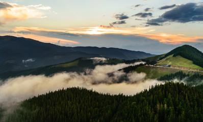 Sunset over mountain landscape in northern Romania