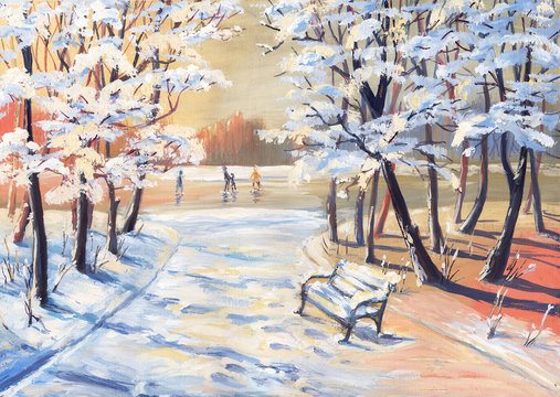 Gouache painting winter landscape with snowy trees, footpath, bench and figure skaters on a frozen river