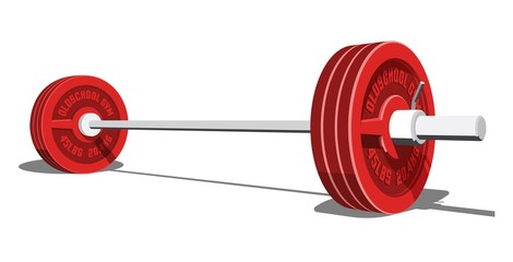 Barbell for weight lifting, bodybuilding, powerlifting. Realistic vector 3d illustration.
